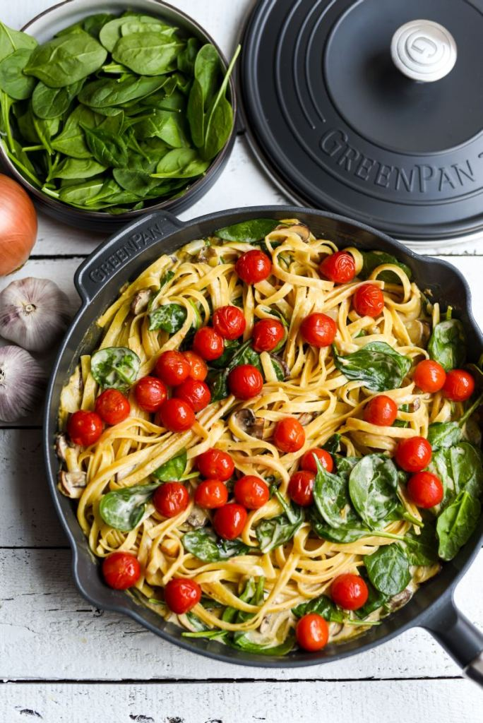 Creamy Mushroom and Spinach Pasta with Grilled Balsamic Tomatoes